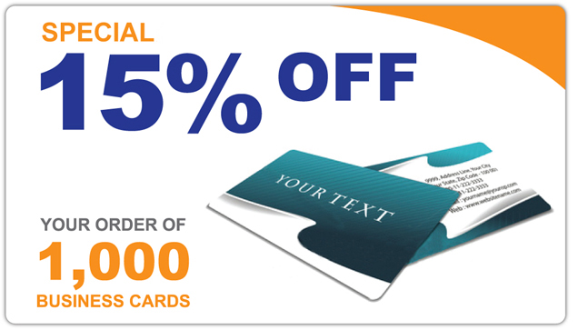 Special 15% Off Your Order of 1000 Business Cards